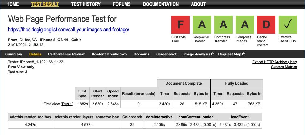 webpagetest - report