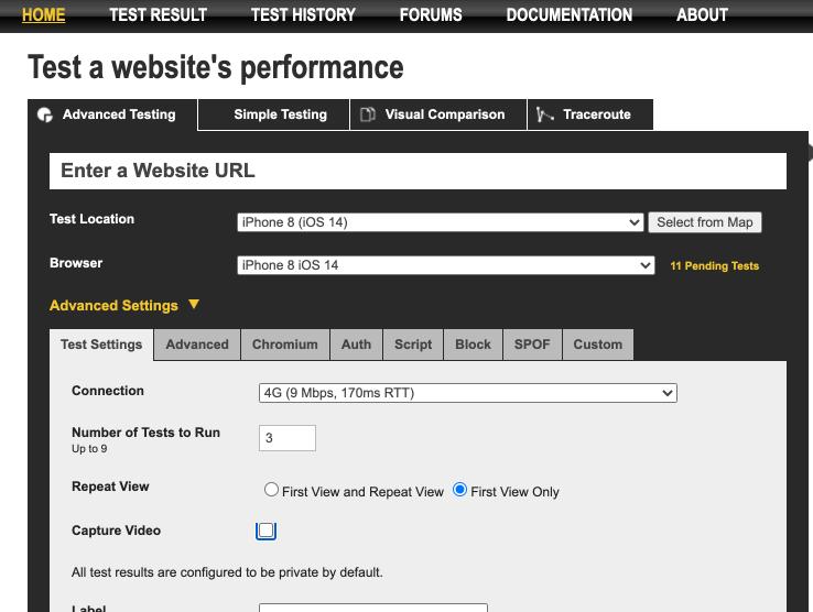 webpagetest - settings