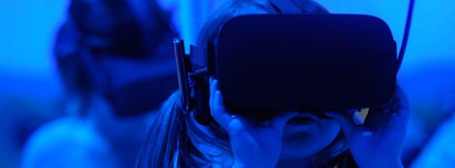 Girl using Virtual Reality