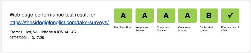 Web Page Performance Score - WebPageTest Mobile